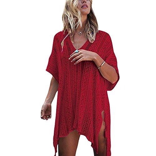 Crochet Bikini Blouse Solaire Up de Taille Femme Col Cisel Cover Bonboho Grande Tunique Plage Robe V Bohme Protection Rouge Dcontract qUZa6na7w