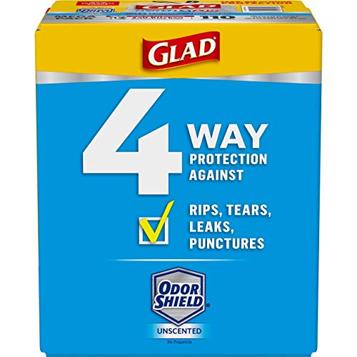 - Glad Tall Kitchen Drawstring Trash Bags - ForceFlexPlus 13 Gallon White Trash Bag, OdorShield - 110 Count