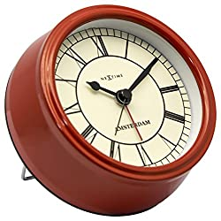 Unek Goods NeXtime Small Amsterdam Table Clock, Metal, Red