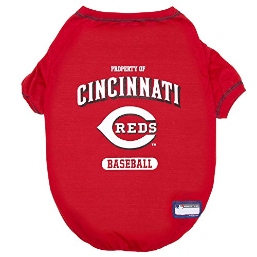 MLB Cincinnati Reds Dog T-Shirt, Medium. - Licensed Shirt for Pets Team Colored with Team Logos