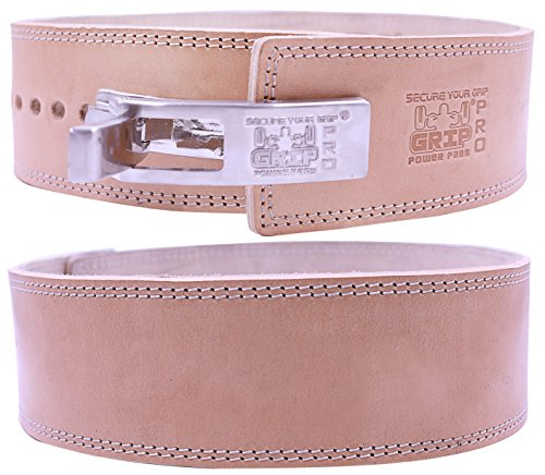 Lever Buckle Weightlifting Belt Real Genuine Leather Individually Handmade Powerlifting & Bodybuilding (Plain with Small LOGO Natural Leather, 10MM With Small LOGO Medium 31