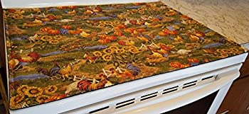 Roosters Glass Stove Top / Cook Top Cover & Protector (Hunter Green)
