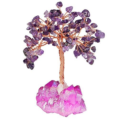 mookaitedecor Amethyst Crystal Tree, Quartz Cluster Fuchsia Titanium Crystals Base Bonsai Money Tree for Wealth and Luck by mookaitedecor