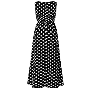 Tosonse Sleeveless Dresses for Women Summer Beach Dot Print Empire Waist Maxi Dress