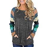 Women Long Sleeve Stripe Casual Tunic Sweatshirt Tops Blouse Shirt