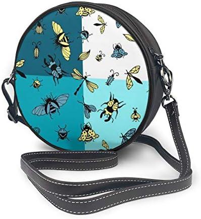 レディース 斜めがけバッグ ザーショルダーバッグ 肩掛けバッグ 昆虫のイラスト トートバッグ 丸形 ミニバッグ 財布 デート 面白い 旅行用