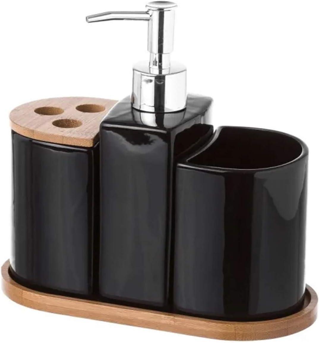 Juego de Baño de 3 Piezas, realizado en Cerámica y Bambú, de Color Negro. Diseño Limpio, con Estilo Minimalista - Hogar y Más