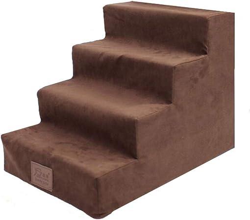 JJZD Escaleras Marrones para Perros, 4 Pasos para Gatos/Perros para Camas Altas, Escalera para Perros para Cama Alta, portátil, Funda Lavable extraíble (Color : Brown): Amazon.es: Hogar