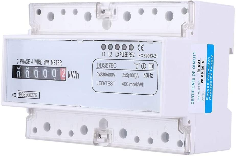 3 m/ètre /électrique de fil de la phase 4 compteur de watt de compteur d/énergie dimpulsion d/électricit/é de rail DIN /à 380V AC