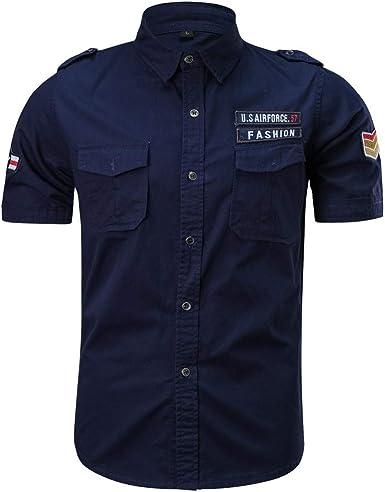 Camisetas Hombre Manga Corta Moda Camisas Casual para Hombres Militares Color Puro Bolsillo Manga Corta Camiseta Suelta Tops Camisa de Trabajo: Amazon.es: Ropa y accesorios