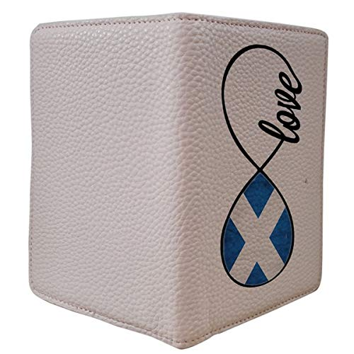 [OxyCase] Designer Light Weight PU Leather Passport Holder Cover/Case - Infinity Love Scotland Flag Scottish Flag Design Printed Cute Travel Wallet for Girls/Women