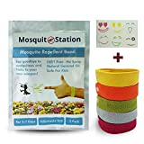 Natural Mosquito Repellent Bracelets + 6 Colorful Repellent Patches, Colorful Wristbands,Deet Free,Safe for Kids,No Spray,Insect Control Bug,Indoor & Outdoor Protection by MosquitoStation
