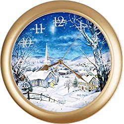 JUSTIME 14-inches Polaris Silent Night 12 Song of Carols of Christmas Wall Clock Silent Sweep Movement Home Deco Multicolor Unique Gift Selection (WSN Satin Brass)
