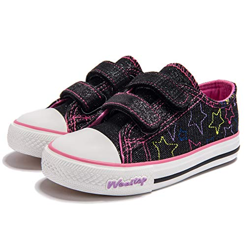 Weestep Toddler Little Kids Girls Low Top Sneaker (11 M US Little Kid, Black) ()