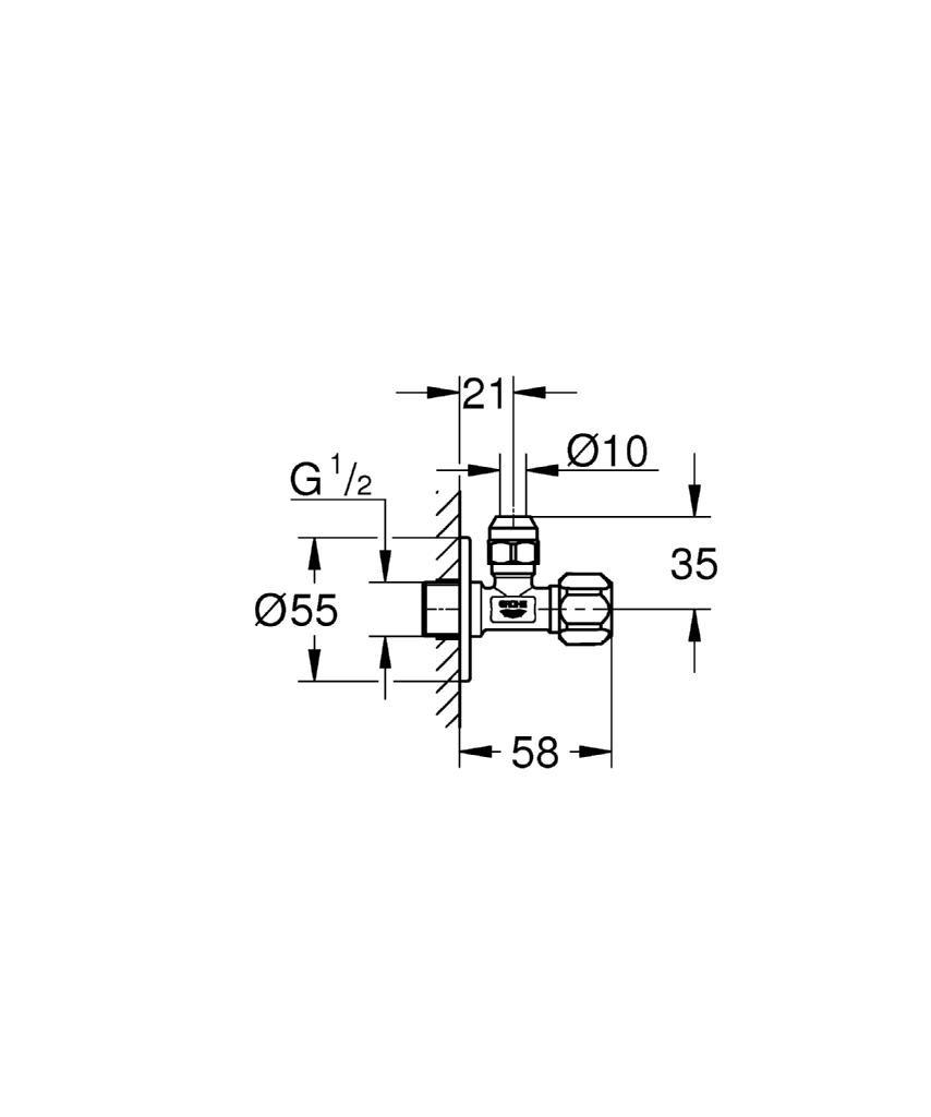 mit L/ängenausgleich Sicherungstechnik 22029000 Wandanschluss 1//2 Zoll GROHE Abgang 3//8 Zoll Eckventil