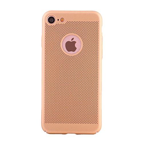 Hülle für iPhone 7 ,Schutzhülle Für iPhone 7 leichte Breathable Full Coverage PC Shockproof schützende rückseitige Abdeckungs-Fall ,cover für apple iPhone 7,case for iphone 7 ( Color : Gold )