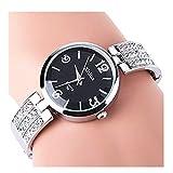 ELEOPTION Bracelet Design Quartz Watch with Rhinestone Dial Stainless Steel Band Free women's Watch Box (Round Black)