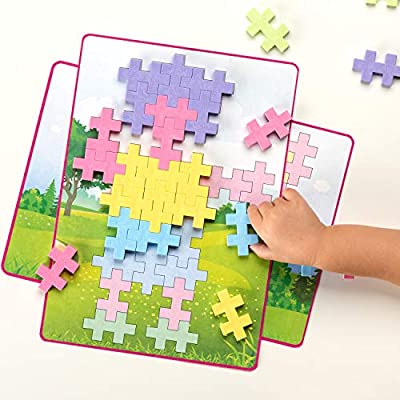 Plus-Plus BIG - BIG Picture Puzzles, Pastel Color Mix - Construction Building Stem Toy, Interlocking Large Puzzle Blocks for Toddlers and Preschool: Toys & Games