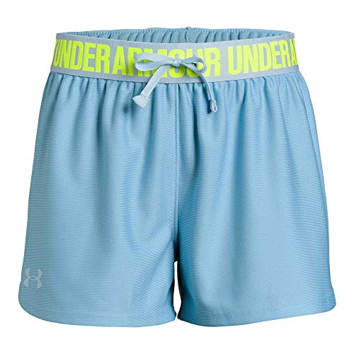 Loose Fit Girls Shorts - Under Armour girls Play Up Workout Gym Shorts, Boho Blue (413)/Coded Blue, Youth Small
