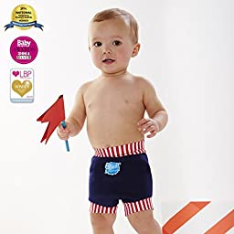 Happy Nappy Baby and Toddler Swim Diaper, Navy Red Stripe, X Large 12-24 Months