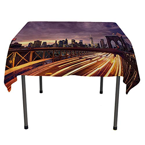 - City Party Supplies Tablecloth Brooklyn Bridge at Night Car Traffic in New York United States Transport Lilac Dark Orange Yellow Multicolored Table Cloth Spring/Summer/Party/Picnic 70 by 70