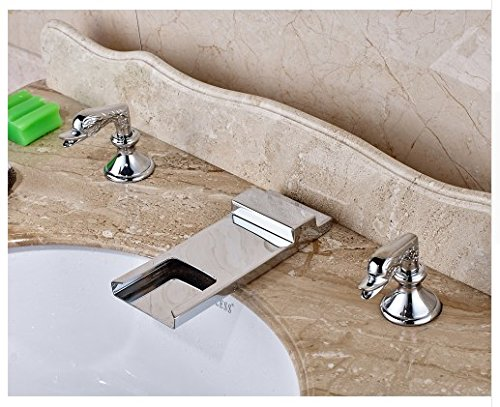 Gowe Deck Mounted Bathroom Sink Faucet Double Handles Widespread 3pcs Mixer Tap Chrome Fonished 1