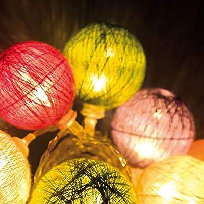 Guirnalda a pilas 2,25 m, 10 bolas de algodón multicolor, Ø 40-50 ...