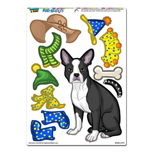 Graphics and More 'Boston Terrier Dress-Up' Dog Pet Funny MAG-NEATO'S Novelty Gift Paper Doll Locker Refrigerator Vinyl Magnet Set Doll Fridge Magnet