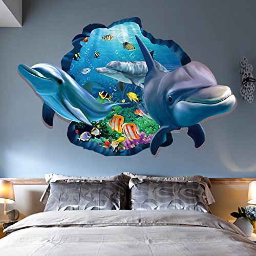 Aibote 3D Wall Decal Dolphin Mural Home Window Ceiling Decor Removable Stickers Decorations Wallpaper for Boys Girls Room Kids Bedroom Floor Walls Living ()