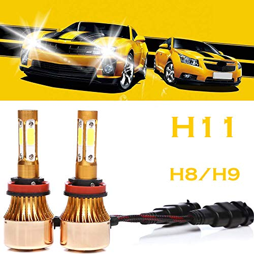 H8 H9 H11 LED Headlight Bulbs 6500K Cool White 4-side of LED Chips High or Low Beam Fog light 200W 20000LM -2 Years Warranty (2 Pcs)
