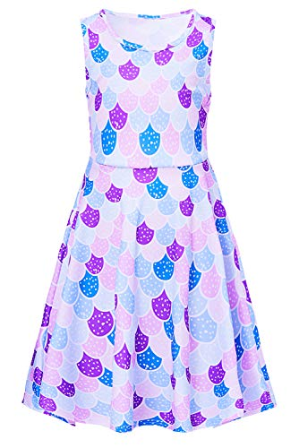 Funnycokid Girls Mermaid Dress Kids Toddler Sleeveless Fish Scale Dresses 4-5T]()