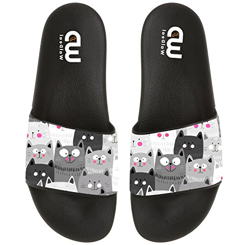 Cartoon Cute Cat Face Eyes Summer Slide Slipper For Men Women Boy Girl Outdoor Beach Sandal Shoes