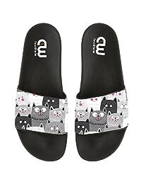Cartoon Cute Cat Face Eyes Summer Slide Slipper For Men Women Boy Girl Outdoor Beach Sandal Shoes