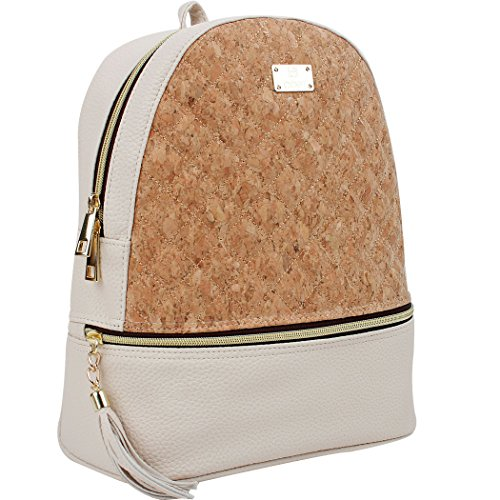 COPI Women's Simple Design Cork Leather Fashion Quilting Backpacks Ivory Beige