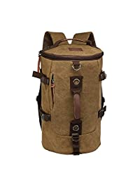 LUXUR Retro Duffel Cylinder Bag Canvas Travel Backpack Hiking Shoulder Handbag ¡­