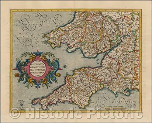 - Historic Map | Southwestern England, Cornwall, Devon, Sommerset, Dorset, Wilton, Glouchester, Glamorgan, Caermarden, Penbroke, Cardigan, 1610 | Vintage Wall Art 30in x 24in