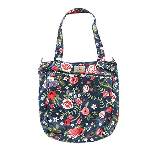 JuJuBe Limited Edition Be Light Everyday Lightweight Zippered Tote Bag, Midnight Posy
