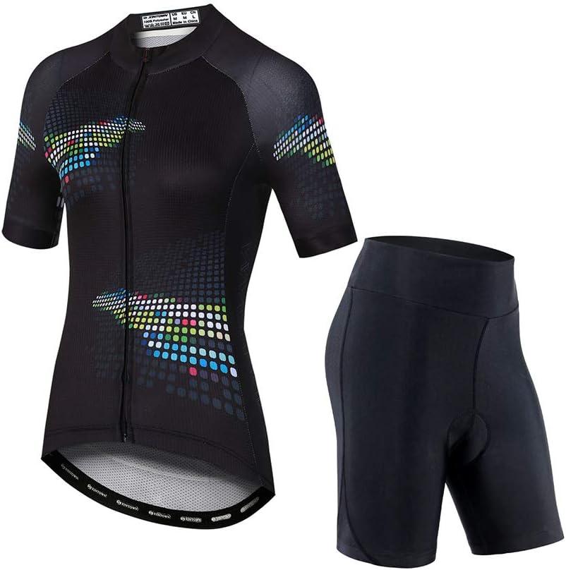 Camiseta de Ciclismo para Mujer, Trajes de Ciclismo de Secado RáPido de Media Manga, con Pantalones Cortos y Pechera