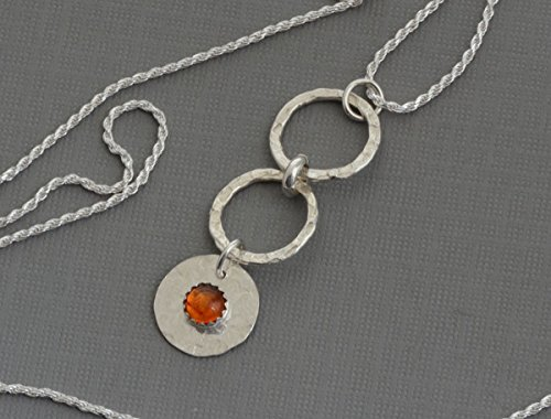 (Sterling silver amber circle necklace pendant modern jewelry karma infinity disc necklace)