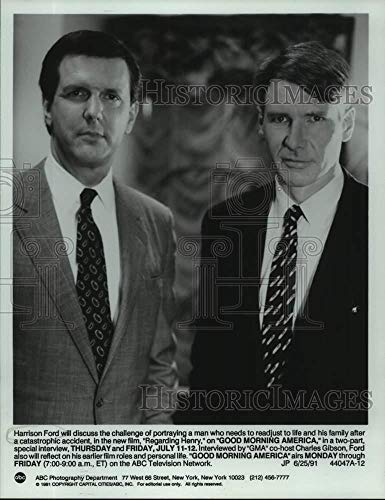 Vintage Photos 1991 Press Photo Actor Harrison Ford and Charles Gibson in Good Morning America