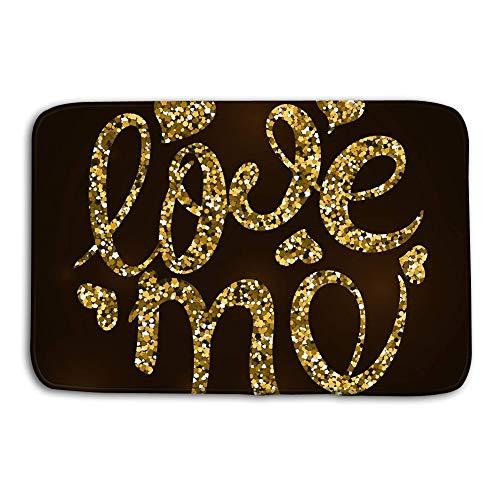 Yugfhj Doormat Indoor Outdoor Love me Calligraphy Gold spangles Dark Background Vector Illustration Valentine Day Greeting Card mat