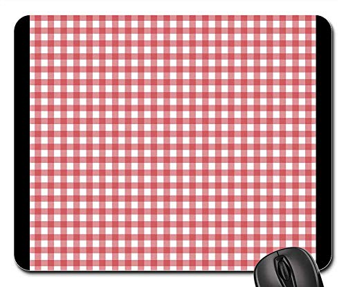 - Mouse Pad - Checks Checked Gingham Red White Background