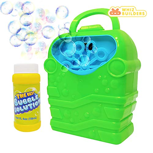 WhizBuilders Bubble Machine with Bubbles Solution Durable Bubble Blower for Boys and Girls - Indoor and Outdoor Bubble Maker for Kids