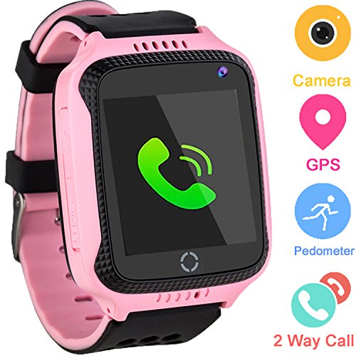 Kids Smartwatches for Boys Girls - GPS Fitness Tracker Watch for Children with Games Phone SOS Alarm Clock Camera Children Gifts Control by Parents Compatible with iOS/Android (01 GM11 Pink GPS)
