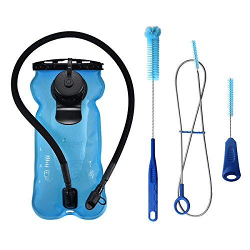 System Hydration Insulator (Hydration Bladder 3L 100oz 3litres, Large Opening Easy to Clean and Full Water Reservoir System, BPA Free Tasteless Water Bag Packs, Perfect for Cycling, Climbing, Hiking (Light Blue + Cleaning Kit))