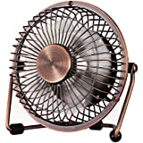 Small USB Desk Fan - Glamouric Mini Metal Personal Fan Retro Design Electric Portable Air Circulator Angle Adjustable Quiet Operation for Table Desktop Home Office Travel (Copper)