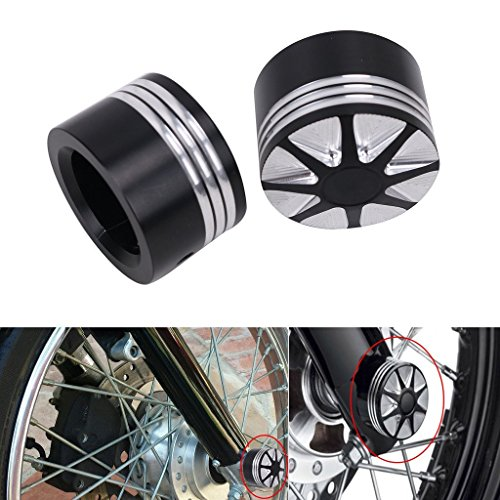 DLLL Motorcycle CNC Deep Cut Front Axle Cover Blot Caps For Harley Davidson Dyna Sportster XL 883 1200 X 48 Softail 08-17 Electra Street Glide Touring Road King FLHT by DLLL (Image #4)