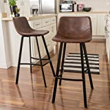 Christopher Knight Home 298406 Dax Snake Skin Brown Bar Stool (Set of 2) For Sale