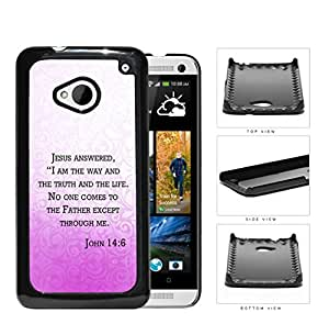 John 14:6 Religious Bible Verse PINK gradient Floral Overlay [HTC one M7] Hard Snap on Plastic Cell Phone Cover