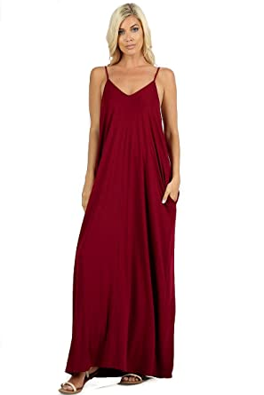 2012032d32b 1024 Women s Long Maxi Casual Summer Beach Plain Loose Cami Dress with Side  Pockets (Cabernet